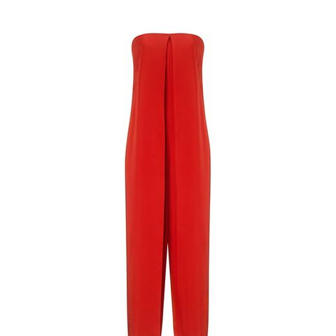 Red Satin Strapless Jumpsuit
