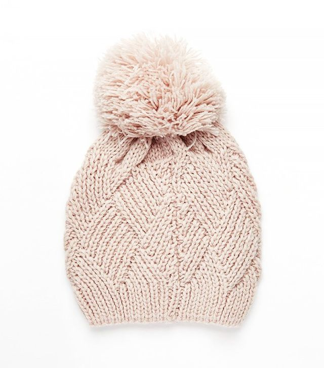 ASOS Triange Cable Wool Mix Beanie with Oversized Pom