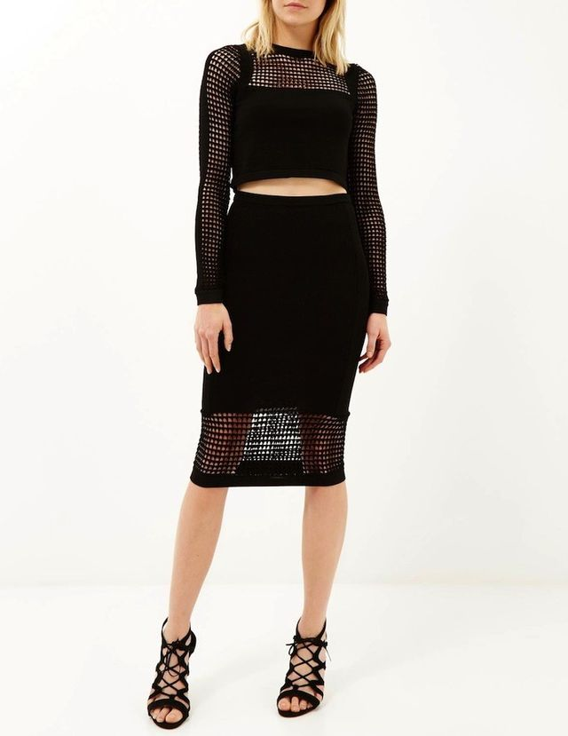 River Island Black Grid Mesh Knitted Crop Top