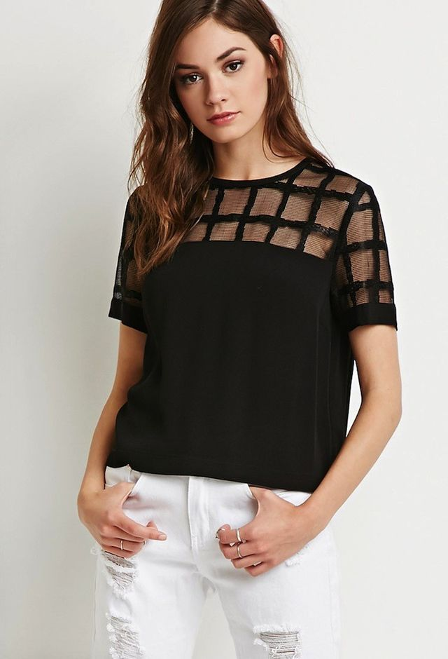 Forever 21 Grid Mesh-Paneled Top
