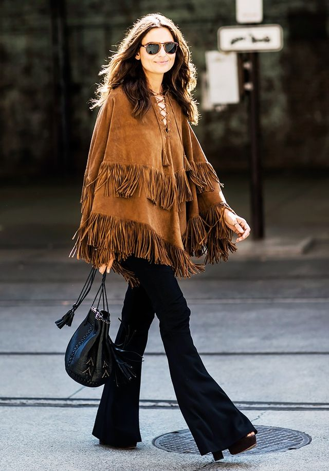 #4: Poncho + Flared Jeans