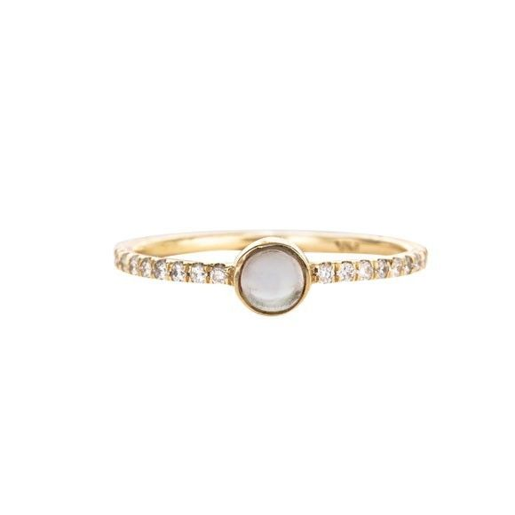 Mociun Moonstone and Diamond Ring