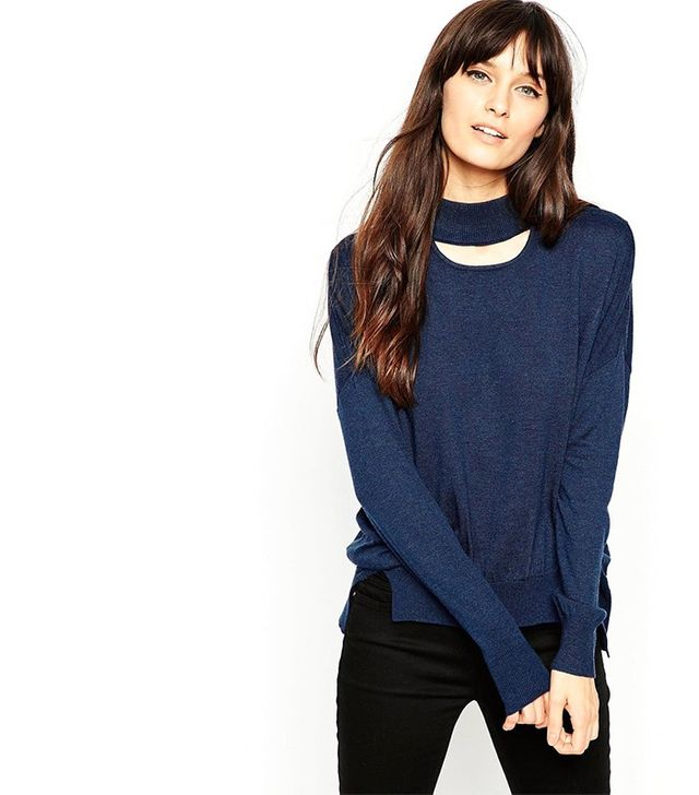 ASOS Petite High Neck Sweater with Cut Out