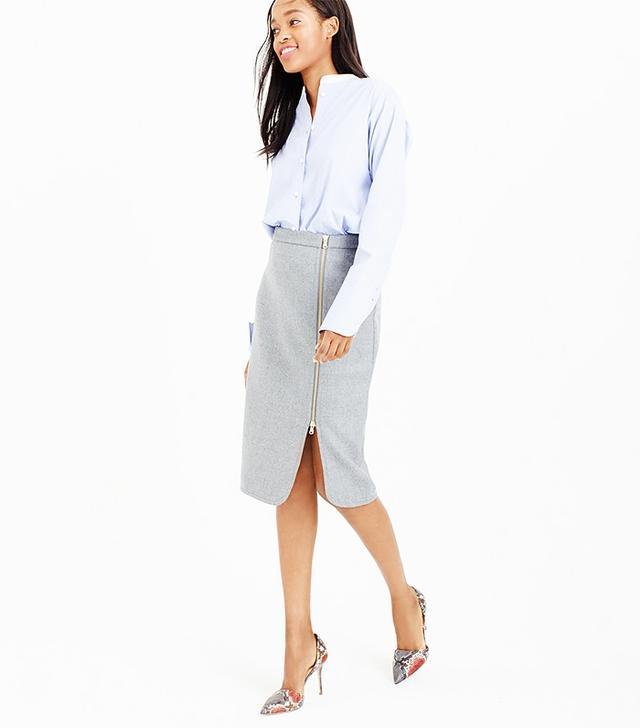 J.Crew Tall Wool Zip Pencil Skirt