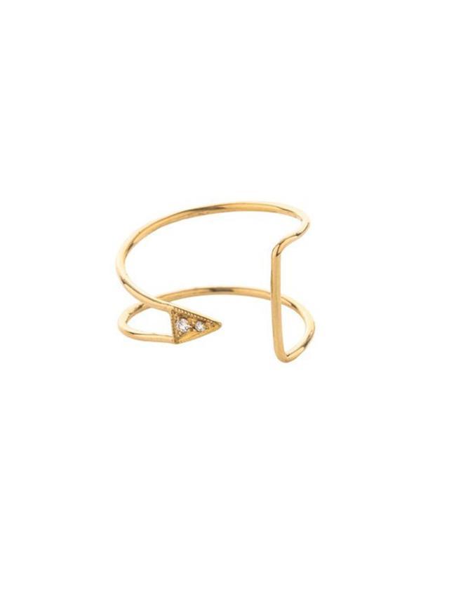 Mociun Curved Diamond Triangle Ring