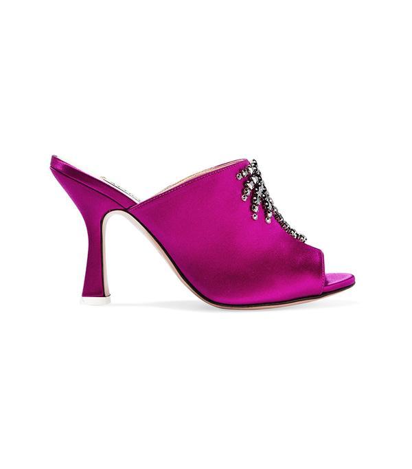 Pamela Crystal-embellished Satin Mules