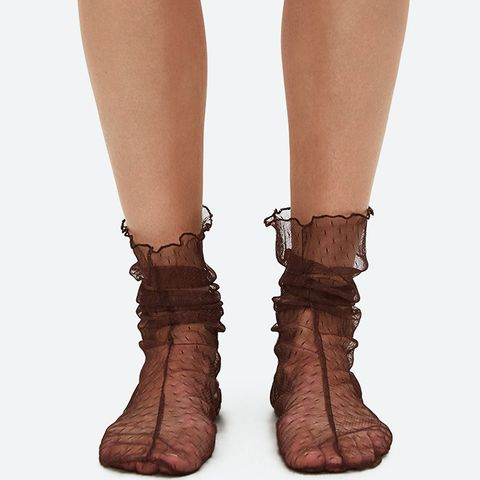 Hynde Tulle Socks in Brown