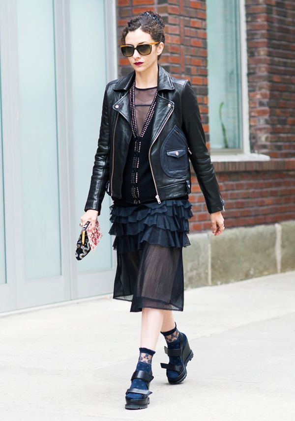 Lace socks are always a chic touch to an all-black outfit.