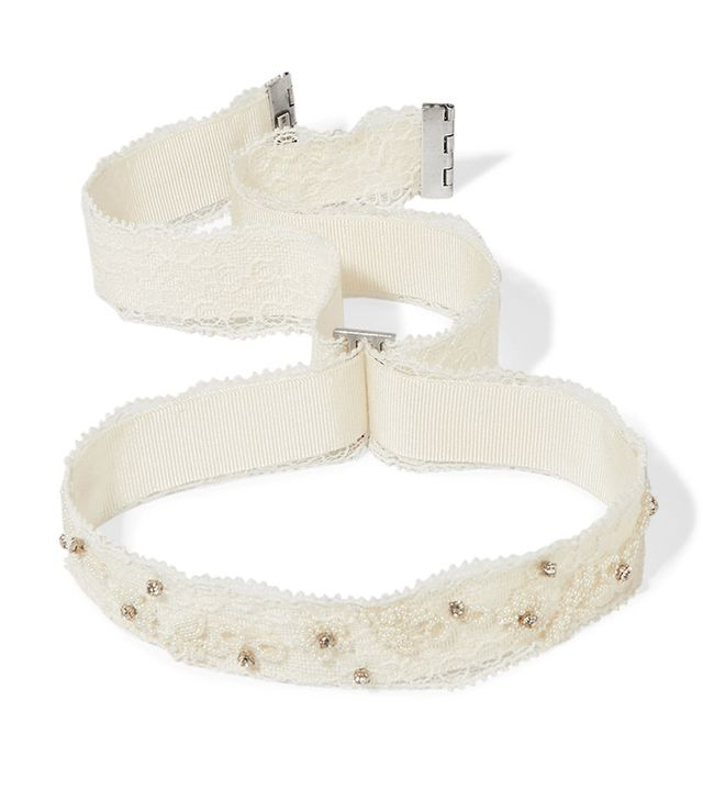 Embellished Lace And Grosgrain Choker