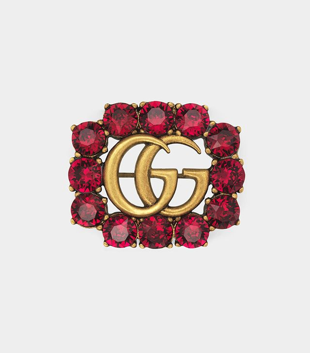 Metal Double G brooch with crystals