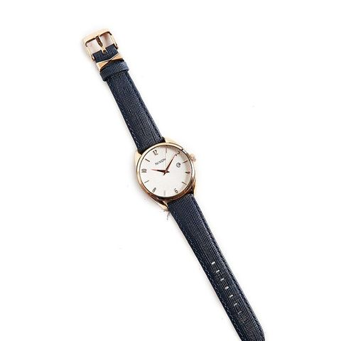 Bullet Rose Gold + Navy Leather Watch