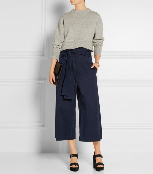 Tibi Barrett Cropped Cotton-Blend Twill Wide-Leg Pants