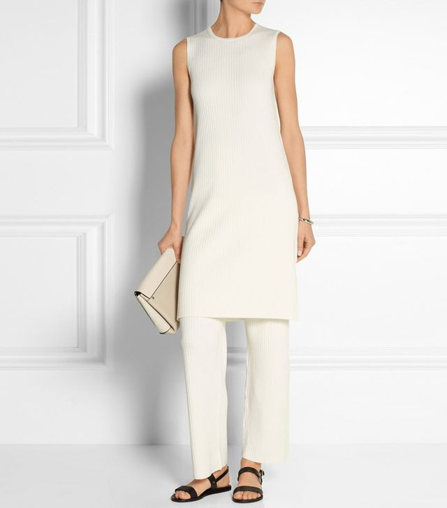 Theory Ribbed Stretch Wool-Blend Dress