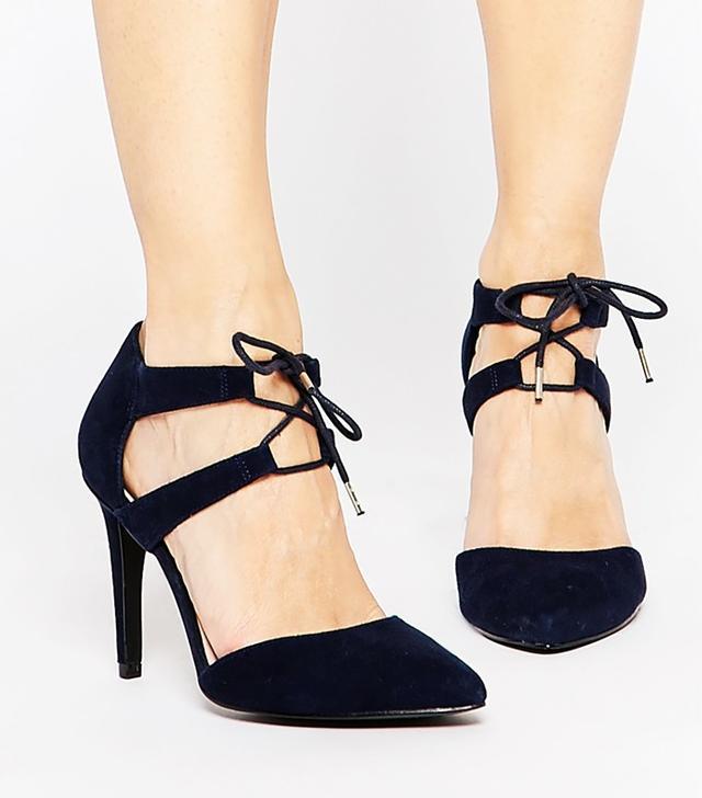 Faith Fisker Navy Suede Tie Front Court Shoes