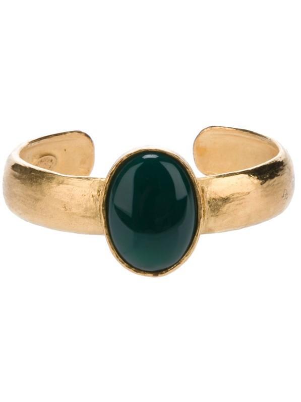 Chanel Vintage Polished Glass Stone Cuff