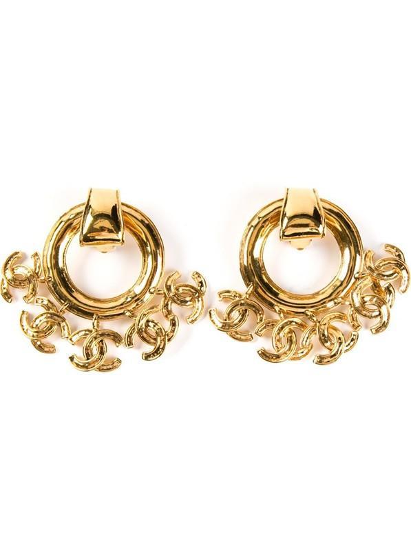 Chanel Vintage Logo Charm Clip On Earrings