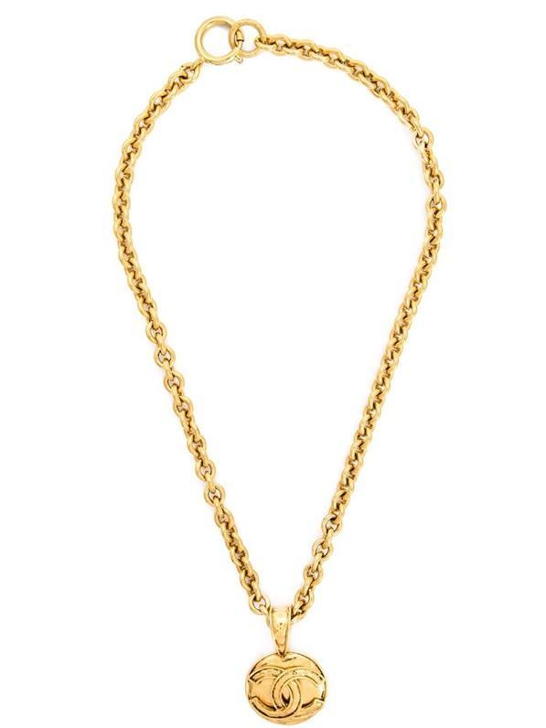 Chanel Vintage Logo Pendant Necklace