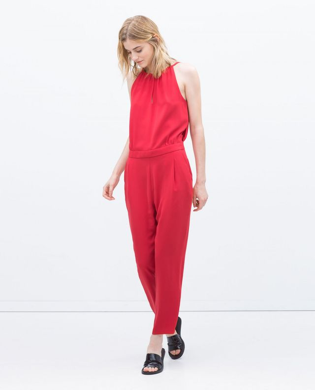 Zara Long Jumpsuit With Spaghetti Straps