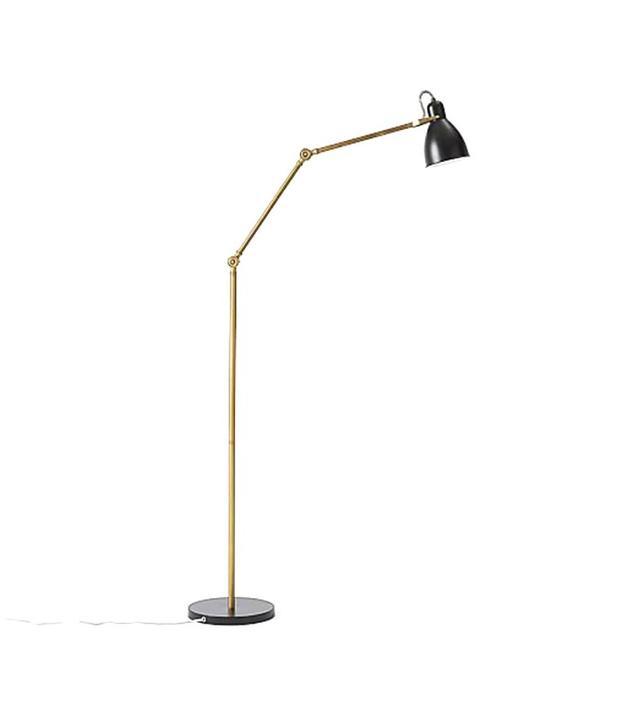 West Elm Industrial Task Floor Lamp in Black and Brass