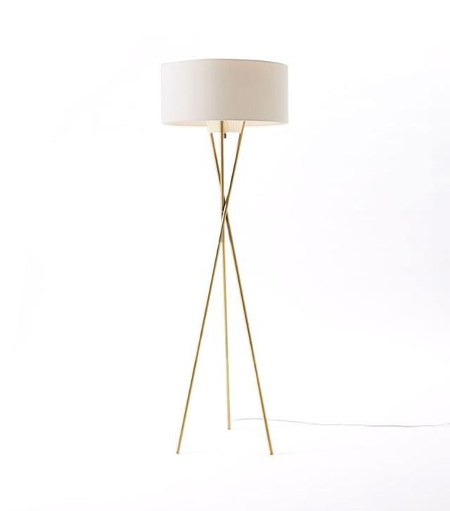 West Elm Mid-Century Tripod Floor Lamp in Antique Brass