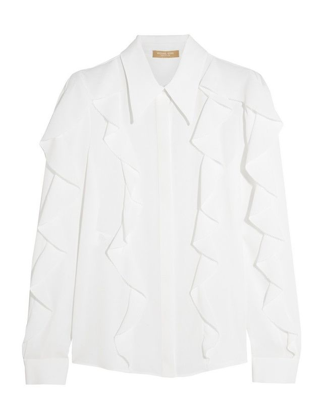 Michael Kors Collection Ruffled silk-crepe blouse