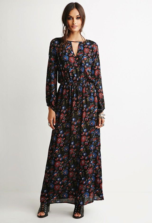 Forever21 Cutout-Front Floral Maxi Dress