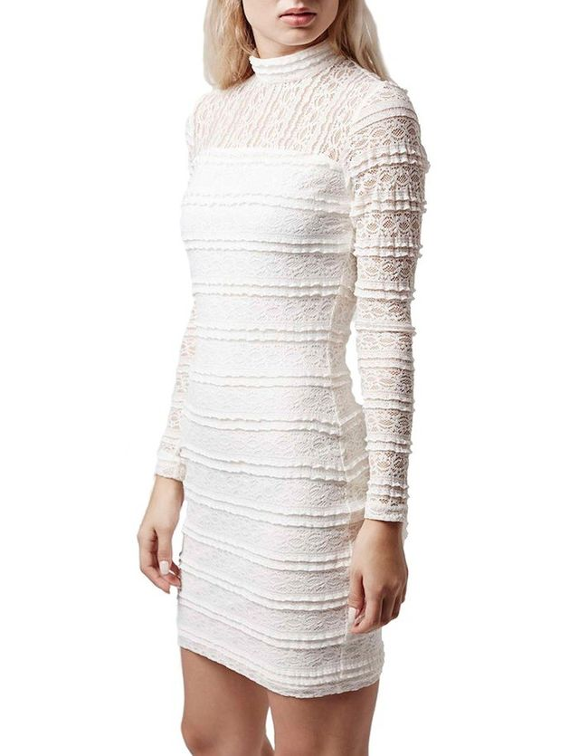 Topshop High Neck Lace Body-Con Dress