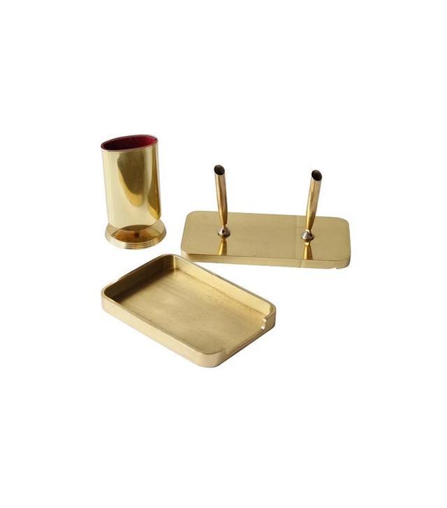 Debra Hall Lifestyle Vintage Brass Desk Set