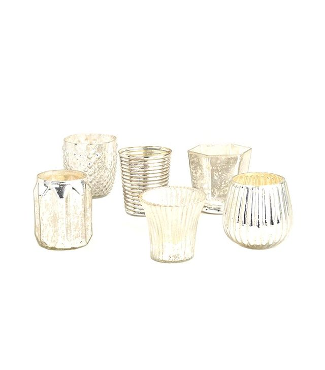 World Market Set of 6 Silver Mercury Glass Votive Candleholders