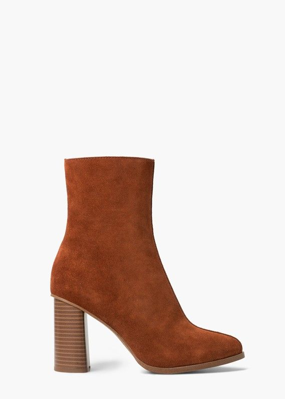 Mango Heel Suede Ankle Boots