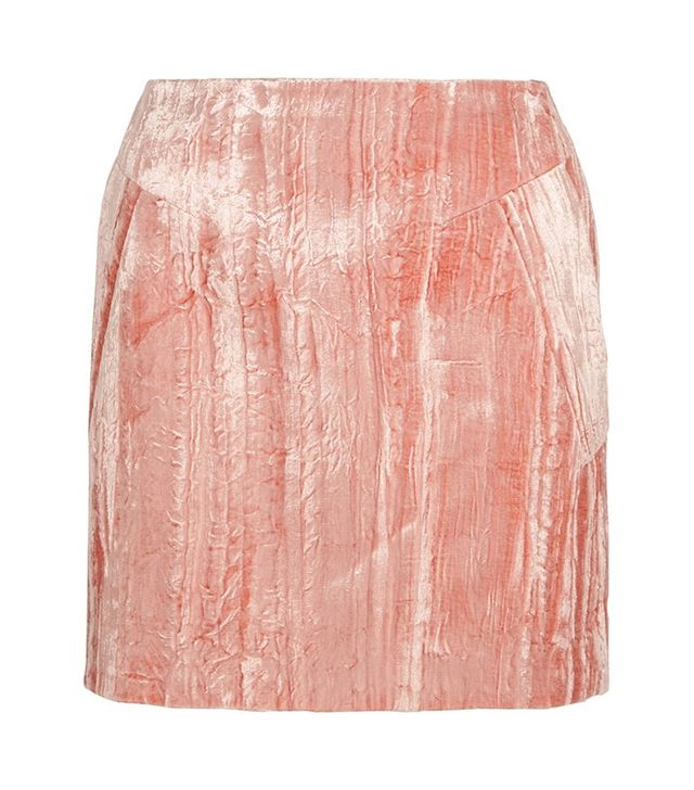 Topshop Unique Mayall Crushed Velvet Mini Skirt