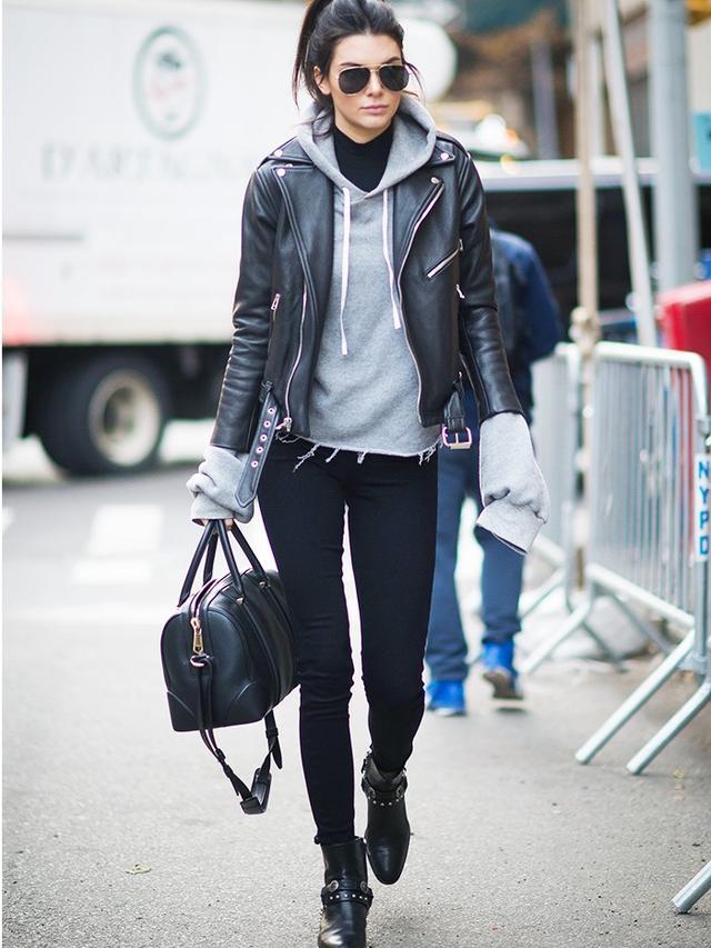 On Kendall Jenner:Laer biker jacket; Unravel hoodie; Paige Denim Skyline Jeans(£198); Givenchy bag.