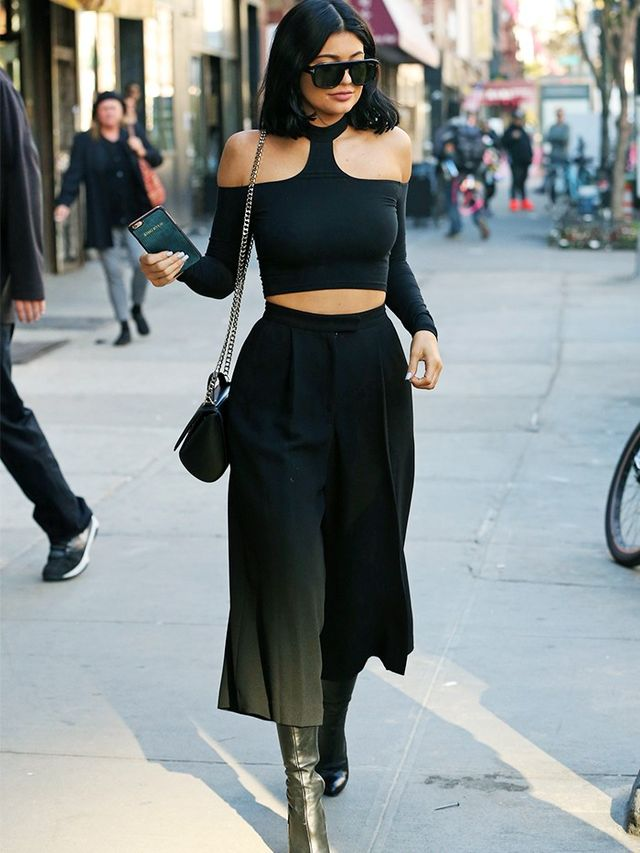 On Kylie Jenner:Tom Ford sunglasses; American Apparel Choker Top (£32); Saylor culottes; Givenchy Leather Ankle Boots(£880).