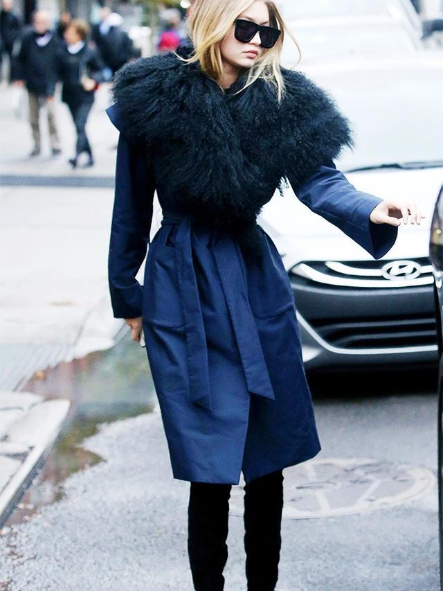 On Gigi Hadid:Karen Walker Deep Freeze Sunglasses(£168); Kempner NYC coat.