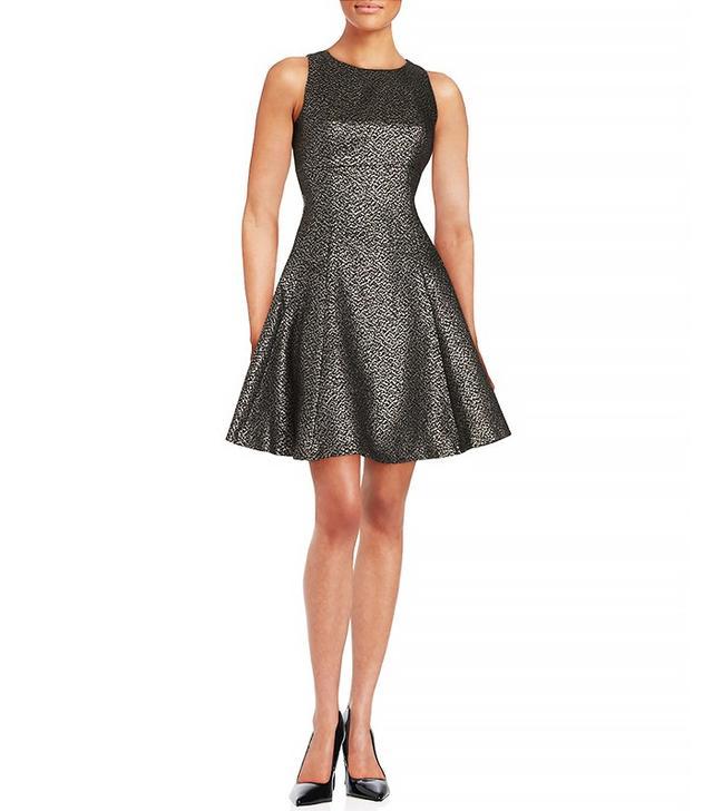 Ivanka Trump Metallic Fit-and-Flare Dress