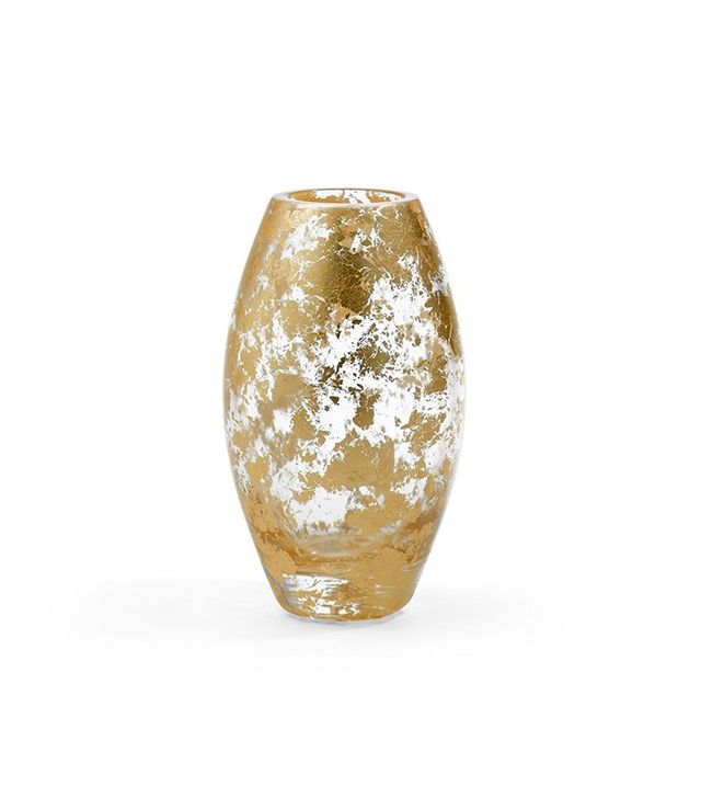 Aerin Small Flecked Gold Crystal Vase