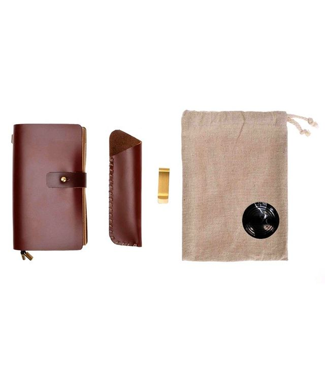 ZLYC Vintage Handmade Refillable Leather Travelers Diary with Pencil Case