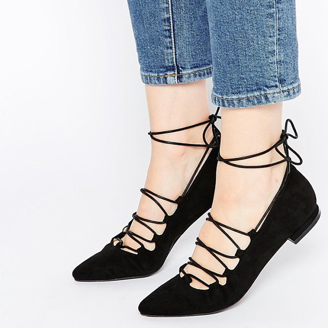 Asos Pieces Kolleen Point Lace Wrap Flat Shoes