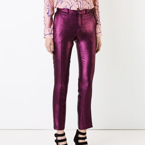 Lamé Slim-Fit Trousers