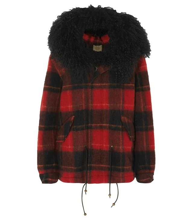 Mr and Mrs Italy Shearling-Trimmed Checked Felt Coat