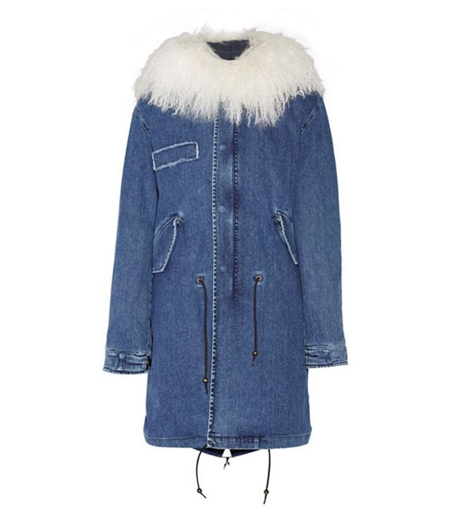 Mr and Mrs Italy Shearling-Trimmed Stretch-Denim Parka