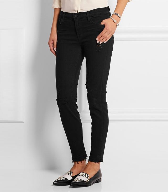 J Brand 835 Distressed Mid-Rise Skinny Jeans