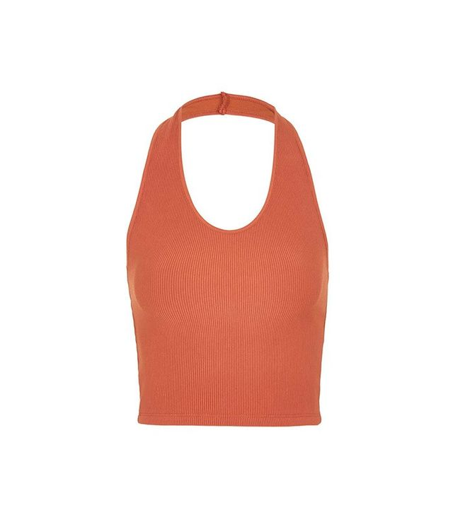 Topshop Ribbed Halterneck Crop Top