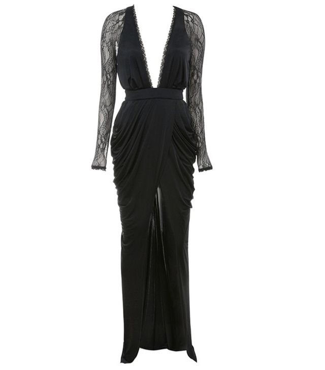 House of CB Adiran Black Lace and Silky Jersey Maxi Dress