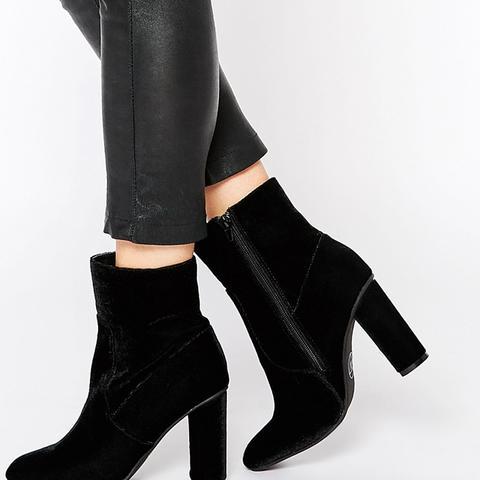 Velvet Block Heel Boot