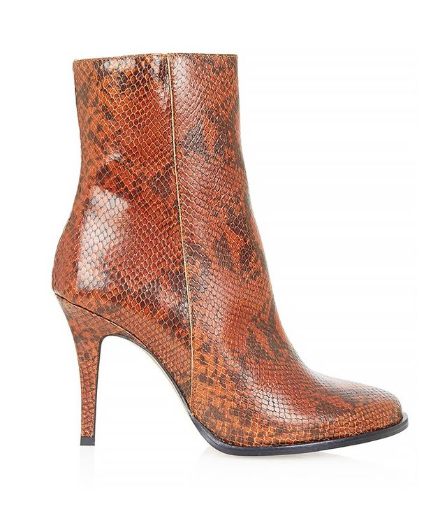 Topshop Heidi Snake-Effect Ankle Boots