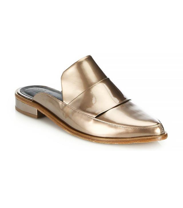 Tibi Denni Metallic Leather Mule Loafers