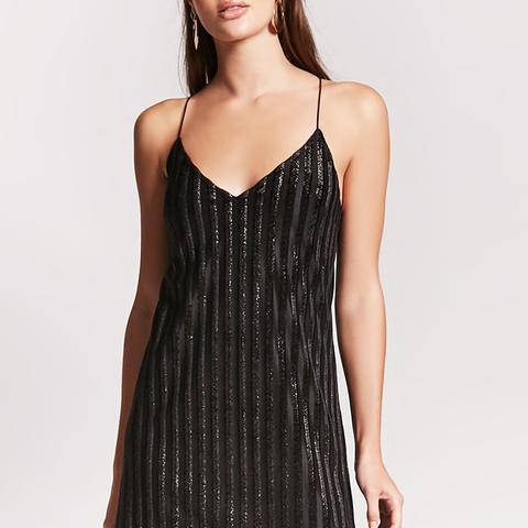 Velvet Shadow Metallic Stripe Dress
