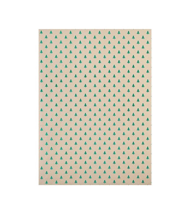 Paper Source Green Glitter Tree Wrapping Paper