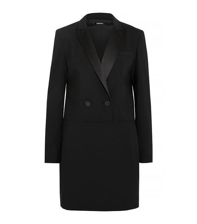 DKNY Satin-Trimmed Stretch-Wool Crepe Midi Dress